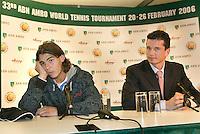 19-2-06, Netherlands, tennis, Rotterdam, ABNAMROWTT, Nadal pressconference where he explaines his absense, right tournament director Richard Krajicek