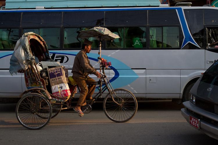 Bicycle rickshaw in Kathmandu. Photo by Didrik Johnck