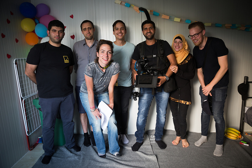 Production crew with Syrian teacher Iman Karabilo and her husband Tharwat Hamode at Kara Tepe Site on the Greek island of Lesvos, where hundreds of refugees are accommodated as they wait to their procedure.