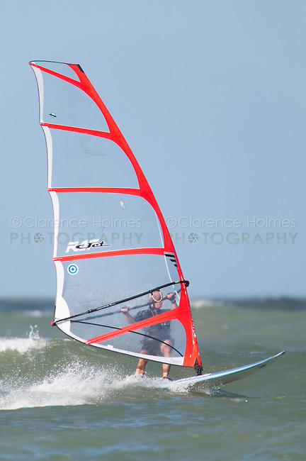 Windsurfer on the water just off of Fort Desoto Park, Tierra Verde, Florida