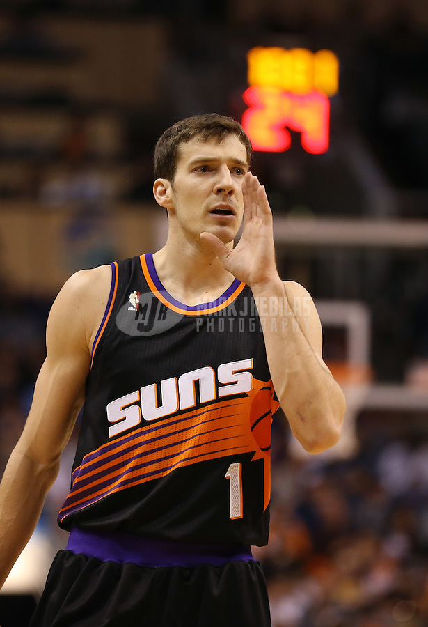 Jan. 30, 2013; Phoenix, AZ, USA: Phoenix Suns guard Goran Dragic (1) against the Los Angeles Lakers at the US Airways Center. Mandatory Credit: Mark J. Rebilas-