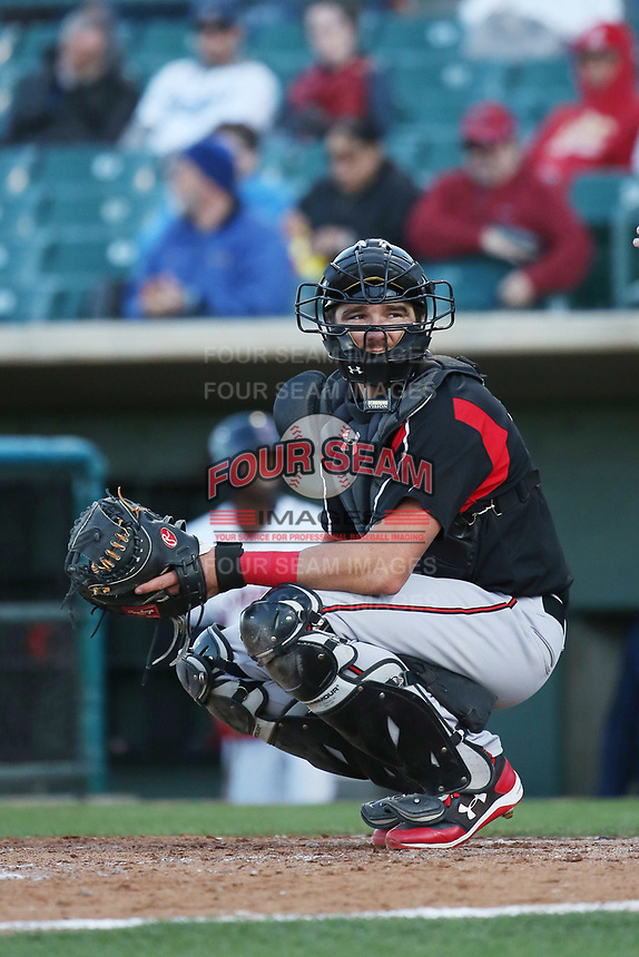 Austin Allen (34) of the Lake Elsinore Storm at catcher during a game against the Lancaster JetHawks at The Hanger on June 12, 2017 in Lancaster, California. Lancaster defeated Lake Elsinore, 13-6. (Larry Goren/Four Seam Images)