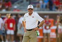 NWA Democrat-Gazette/BEN GOFF @NWABENGOFF<br /> Chad Morris, Arkansas head coach, oversees warmups before the game vs Ole Miss Saturday, Sept. 7, 2019, at Vaught-Hemingway Stadium in Oxford, Miss.