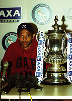 Wycombe's Roy Essandoh answers questions at the Press Conference. Roy was the Wanderers player who scored the sensational late winning goal to knockout Leicester in the previous round during a Press Conference at Adams Park (ahead of the FA Cup Semi-Final between Wycombe & Liverpool) on 6th April 2001