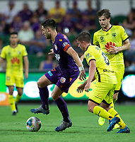 7th February 2020; HBF Park, Perth, Western Australia, Australia; A League Football, Perth Glory versus Wellington Phoenix; Bruno Fornaroli of the Perth Glory holds off Cameron Devlin of Wellington Phoenix