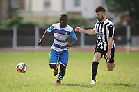 Tyson Tadaya of Ilford and Sam Cripps of Harwich during Ilford vs Harwich & Parkeston, Emirates FA Cup Football at Cricklefields Stadium on 10th August 2019