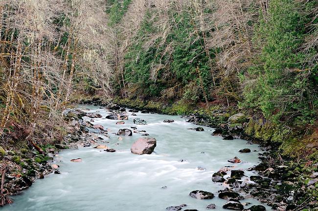 Raging Sauk River in Spring, North Cascades National Park, Washington State