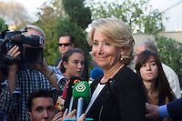 Esperanza Aguirre visits San Isidro funeral home following the death of Miguel Boyer in Madrid, Spain. September 29, 2014. (ALTERPHOTOS/Victor Blanco) /nortephoto.com