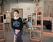 January 25, 2010. Raleigh, North Carolina..Portrait of Mia Yoon, a painter and the director of the new Raleigh Institute of Contemporary Art, an art school that opened last week offering painting, drawing and many other types of art classes.