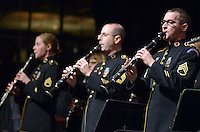 BENSALEM, PA -  MARCH 17:  Members of the U.S. Army Field Band Concert and Soldiers' Chorus performs at Bensalem High School March 17, 2014 in Bensalem, Pennsylvania. (Photo by William Thomas Cain/Cain Images)