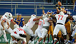 SIOUX FALLS, SD - NOVEMBER 7: South Dakota State University blocks a field goal attempt by Sean Slattery #97 from Illinois State in the second half Saturday in the final game at Coughlin Alumni Stadium in Brookings. (Photo by Dave Eggen/Inertia)