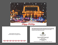 """Bentleyville and Aerial Lift Bridge"" holiday cards, cards/envelopes, greeting inside, approx. 5""x7"" folded; individual or pack of 10"