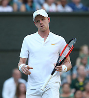Kyle Edmund (GBR) during his match against Novak Djokovic (SRB) in their Men's Singles Third Round match<br /> <br /> Photographer Rob Newell/CameraSport<br /> <br /> Wimbledon Lawn Tennis Championships - Day 6 - Saturday 7th July 2018 -  All England Lawn Tennis and Croquet Club - Wimbledon - London - England<br /> <br /> World Copyright &not;&copy; 2017 CameraSport. All rights reserved. 43 Linden Ave. Countesthorpe. Leicester. England. LE8 5PG - Tel: +44 (0) 116 277 4147 - admin@camerasport.com - www.camerasport.com