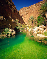 Green Pool in Wadi Shab, Sultanate of Oman  Eastern Hagar Mountains  Green color from limestone springs     Arabian Pennisula