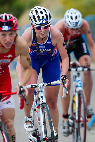 05 JUN 2011 - MADRID, ESP - Non Stanford climbs the hill during the Madrid round of the women's ITU World Championship series .(PHOTO (C) NIGEL FARROW)
