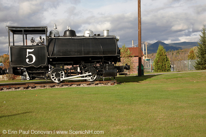 Groveton Papers Co. No. 5 Steam Locomotive in Groveton, New Hampshire. This coal-powered steam engine locomotive was owned by the Odell Manufacturing Company, and it last saw use in the 1960s.