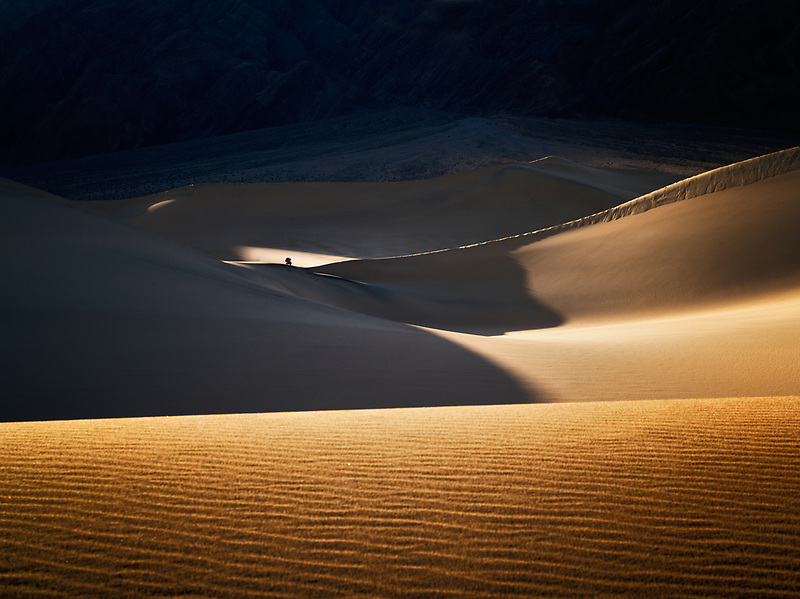 Photographers on sand dunes. Death Valley National Park, California