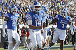 Quarterback Stephen Johnson #15 of the Kentucky Wildcats celebrates after scoring a touchdown during the second half of the TaxSlayer Bowl against the Georgia Tech Yellow Jackets at EverBank Field on Saturday, December 31, 2016 in Jacksonville, Florida. Photo by Michael Reaves | Staff.