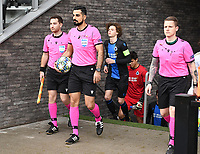 20191211 – OOSTENDE , BELGIUM : Swedish referees pictured with Mohammed Al-Hakim (middle) , Max Robin Wilde   and Andreas Soderqvist during a soccer game between Club Brugge KV and Real Madrid on the sixth and last matchday in group A of the UEFA Youth League - Champions League season 2019-2020 , thuesday 11 th December 2019 at the Versluys Arena in Oostende , Belgium . PHOTO SPORTPIX.BE | DAVID CATRY