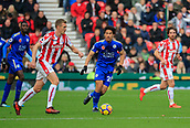 4th November 2017, bet365 Stadium, Stoke-on-Trent, England; EPL Premier League football, Stoke City versus Leicester City; Darren Fletcher of Stoke City moves the ball in midfield watched by Shinji Okazaki of Leicester City