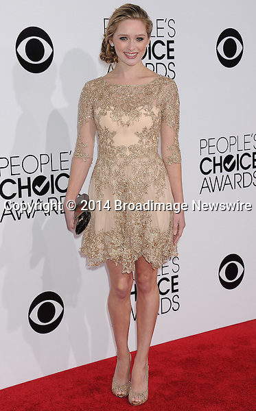 Pictured: Greer Grammer<br /> Mandatory Credit &copy; Gilbert Flores /Broadimage<br /> 2014 People's Choice Awards <br /> <br /> 1/8/14, Los Angeles, California, United States of America<br /> Reference: 010814_GFLA_BDG_270<br /> <br /> Broadimage Newswire<br /> Los Angeles 1+  (310) 301-1027<br /> New York      1+  (646) 827-9134<br /> sales@broadimage.com<br /> http://www.broadimage.com