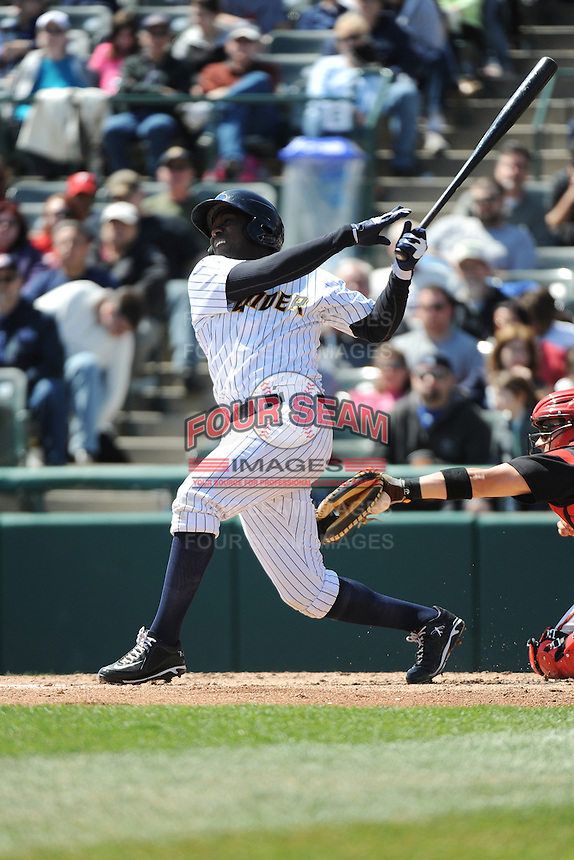 Trenton Thunder infielder Jose Pirela (28) during game against the Richmond Flying Squirrels at ARM & HAMMER Park on April 14 2013 in Trenton, NJ.  Trenton defeated Richmond 15-1.  (Tomasso DeRosa/Four Seam Images)