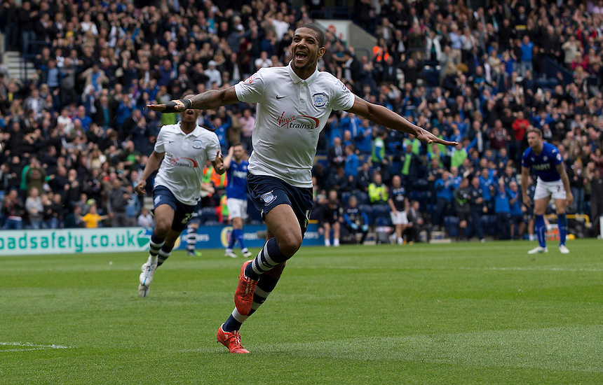 Preston North End's Jermaine Beckford celebrates scoring the opening goal <br /> <br /> Photographer Stephen White/CameraSport<br /> <br /> Football - The Football League Sky Bet League One Semi-Final Second Leg - Preston North End -  Chesterfield - Deepdale - Preston<br /> <br /> &copy; CameraSport - 43 Linden Ave. Countesthorpe. Leicester. England. LE8 5PG - Tel: +44 (0) 116 277 4147 - admin@camerasport.com - www.camerasport.com