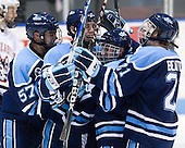 Matt Mangene (Maine - 57), Ryan Hegarty (Maine - 44), Adam Shemansky (Maine - 26), Kyle Beattie (Maine - 21) - The University of Maine Black Bears defeated the Northeastern University Huskies 6-2 on Friday, November 13, 2009, at Matthews Arena in Boston, Massachusetts.