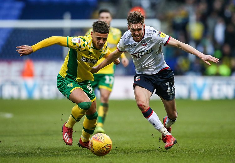 Bolton Wanderers' Craig Noone competing with Norwich City's Max Aarons  <br /> <br /> Photographer Andrew Kearns/CameraSport<br /> <br /> The EFL Sky Bet Championship - Bolton Wanderers v Norwich City - Saturday 16th February 2019 - University of Bolton Stadium - Bolton<br /> <br /> World Copyright © 2019 CameraSport. All rights reserved. 43 Linden Ave. Countesthorpe. Leicester. England. LE8 5PG - Tel: +44 (0) 116 277 4147 - admin@camerasport.com - www.camerasport.com