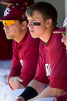 South Carolina first baseman Justin Smoak (12) watches the action versus LSU at Sarge Frye Stadium in Columbia, SC, Thursday, March 18, 2007.