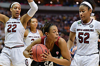 Dallas, TX - Friday March 31, 2017: Erica Mccall during the NCAA National Semifinal Game between the women's basketball teams of Stanford and South Carolina at the American Airlines Center.