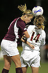 7 November 2007: Florida State's Kirsten van de Ven (14) and Boston College's Kelly Henderson (left) challenge for a header. Florida State University defeated Boston College 1-0 at the Disney Wide World of Sports complex in Orlando, FL in an Atlantic Coast Conference tournament quarterfinal match.