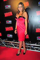 """CARMEN ELECTRA .Italian Film Premiere for """"Disaster Movie"""" in Rome, Italy, October 8th 2008..full length pink dress black shoes ankle strap trim ruffle buttons strapless .CAP/CAV.©Luca Cavallari/Capital Pictures"""