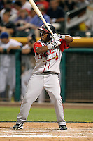 Jose Constanza #7 of the Gwinnett Braves plays for the International League All-Stars in the annual Triple-A All-Star Game against the Pacific Coast League All-Stars at Spring Mobile Ballpark on July 13, 2011  in Salt Lake City, Utah. The International League won the game, 3-0. Bill Mitchell/Four Seam Images.