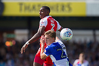 Amari'i Bell of Fleetwood Town and Joe Partington of Bristol Rovers during the Sky Bet League 1 match between Bristol Rovers and Fleetwood Town at the Memorial Stadium, Bristol, England on 26 August 2017. Photo by Mark  Hawkins.