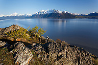 Spring landscape of Chugach Mountains in Chugach State Park high above Seward Highway and Turnagain Arm.  Kenai Mountains backgound  <br /> <br /> (C) Jeff Schultz/SchultzPhoto.com