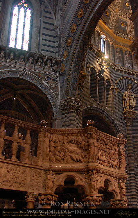 Architectural Detail, Papal and Imperial Busts over Pulpit and St. Crescentius, Nave, Cathedral of Siena, Santa Maria Assunta, Siena, Italy