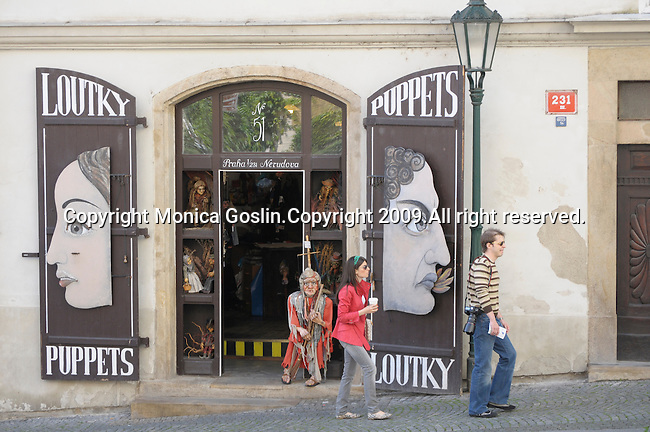 A puppet and marionette store front in Prague, Czech Republic.