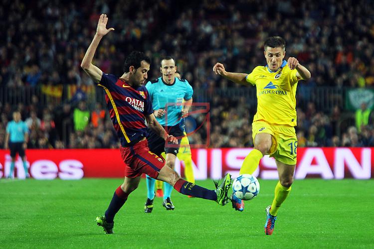 UEFA Champions League 2015-2016. Matchday 4.<br /> FC Barcelona vs FC BATE Borisov: 3-0.<br /> Sergio Busquets vs Dmitri Mozolevski.