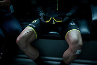 Simon Yates' (GBR/Mitchelton-Scott) ripped legs... race ready indeed.<br /> <br /> Stage 5: Frascati to Terracina (140km)<br /> 102nd Giro d'Italia 2019<br /> <br /> ©kramon