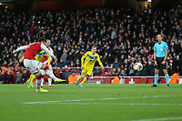 GOAL - Olivier Giroud of Arsenal scores his team's fifth goal of the game from the penalty spotduring the UEFA Europa League match between Arsenal and FC BATE Borisov  at the Emirates Stadium, London, England on 7 December 2017. Photo by David Horn.