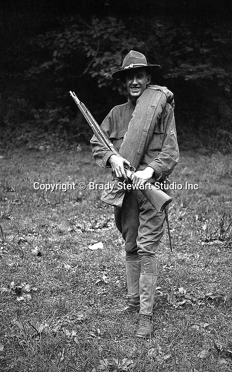 Petersburg VA:  A photo of one of Brady Stewart's friends showing off his gear;  80th Division encampment - 1918