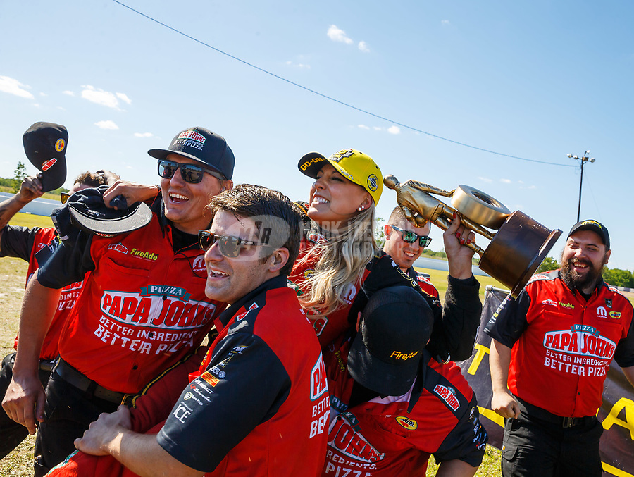 Apr 23, 2017; Baytown, TX, USA; NHRA top fuel driver Leah Pritchett celebrates with her crew after winning the Springnationals at Royal Purple Raceway. Mandatory Credit: Mark J. Rebilas-USA TODAY Sports