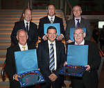 St Johnstone Hall of Fame Dinner, Perth Concert Hall...05.10.13<br /> The five inductees pictured with Chairman Steve Brown, pictured back row from left, John Brogan, Roddy Grant, Jon Carr and front row from left, Henry Hall, Chairman Steve Brown and Willie Coburn.<br /> Picture by Graeme Hart.<br /> Copyright Perthshire Picture Agency<br /> Tel: 01738 623350  Mobile: 07990 594431
