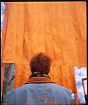 Photo Andrew Kaufman -  New York, New York. February 12, 2005. Christo the artist wrapped Central Park in Orange Saffron fabric. Over 700 gates lined over 23 miles of Central park...Artists Christo and Jeanne-Claude, his wife, installed 7,503 gates along 23 miles of foot paths in Central Park, New York City. The installation, called 'The Gates', wrapped Central Park in orange saffron fabric and was open from February 12 to February 27, 2005.