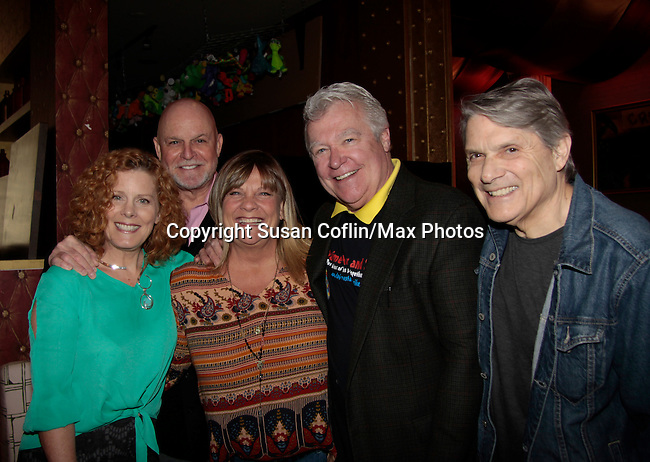 Liz Keifer - Ron Raines - Kim Zimmer - Jerry verDorn - Jay Hammer - 11th Annual Daytime Stars & Strikes Event for Autism - 2015 on April 19, 2015 hosted by Guiding Light's Jerry ver Dorn (& OLTL) and Liz Keifer at Bowlmor Lanes Times Square, New York City, New York. (Photos by Sue Coflin/Max Photos)