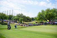 Dustin Johnson (USA) chips on 18 during round 6 of the World Golf Championships, Dell Technologies Match Play, Austin Country Club, Austin, Texas, USA. 3/26/2017.<br /> Picture: Golffile | Ken Murray<br /> <br /> <br /> All photo usage must carry mandatory copyright credit (&copy; Golffile | Ken Murray)