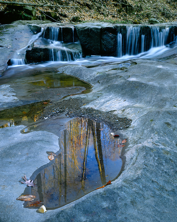 Reflection and small waterfall above Blue Hen Falls; Cuyahoga Valley National Recreation Area, OH