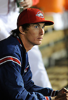 Pitcher Henry Owens (32) of the Greenville Drive watches from the dugout after pitching in a game against the Lakewood BlueClaws on April 7, 2012, at Fluor Field at the West End in Greenville, South Carolina. Owens was a supplemental round pick by the Boston Red Sox in the 2011 First-Year Player Draft. (Tom Priddy/Four Seam Images)