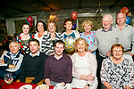Eileen Falvey Ballyvelly, Tralee, celebrating a Birthday with family and friends at Cassidy's on Friday Pictured front l-r Junior Collins, Tomas Collins, Derek Horrigan, Eileen Falvey, Rose Falvey. Back l-r Mandy Moriarty, Mary Kinsella, Ruth O'Connor, Jacky Collins, Elaine Crowley, Tom Falvey and Paddy O'Connor